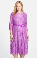 Alex Evenings 3/4 sleeve Metallic Lace Beautiful Cocktail Dress 16W