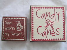 Candy Cane themed box signs Christmas 2pc Canes You warm my Heart Collins cs6368
