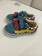 Vans Multicolor Rainbow Checkered Old Skool Retro Sneakers Toddler Size 5 suede