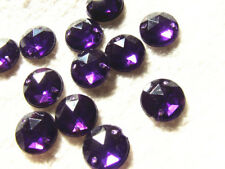 240 Purple Faceted Beads Acrylic Rhinestones/gems 12 Mm Round Flat Back Sew on