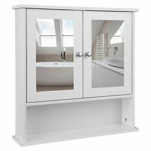 Bathroom Wall Cabinet Storage MDF Cupboard with Mirror 3 Shelves Cupboard white