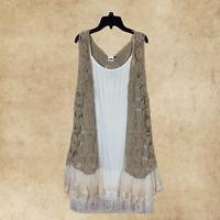 Plus Size Boho Vintage Hippie Mocha Lace Embroidered Crochet Long Vest Cardigan