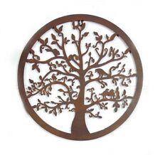 TREE OF LIFE METAL RUSTY BROWN WALL ART LASER CUT SCULPTURE 40cm