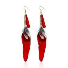 Boho style red tassel and feather dangle earrings