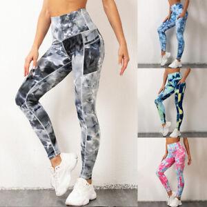 Women Gym Pocket Leggings Butt Lift High Waist Sports Fitness Running Yoga Pants