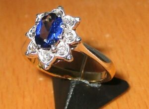 SECONDHAND 18ct YELLOW & WHITE GOLD SAPPHIRE AND DIAMOND CLUSTER RING SIZE M