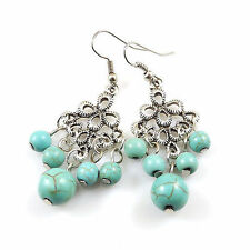 New Cute & Fun to Wear Tibetan Silver Turquoise Bead Fancy Dangle Drop Earrings