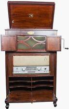 "Vintage Décor 2 In 1 Cabinet Antique Radio + ""Hmv"" Gramophone Phonograph HB 038"