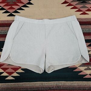 Trina Turk Kristoph Perforated Soft Lamb Leather Shorts Sz 8 Beige Cream Lined