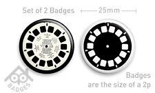 VIEWMASTER Reel Viewer Advert - Set of 4 x 25mm Badges - Set 1