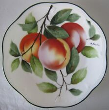 """Vintage ROYAL VIENNA Hand Painted PEACHES Porcelain PLATE Signed P. Dauphin 8.5"""""""