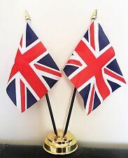 UNION JACK UNITED KINGDOM TABLE FLAG SET 2 flags plus GOLDEN BASE GREAT BRITAIN