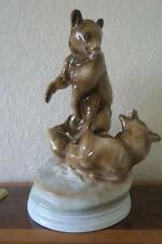 ZSOLNAY FIGHTING BEARS HUNGARY PORCELAIN FIGURINE