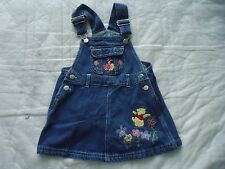 Girl's size 2T Blue jean Jumper Skirt with  Pooh Piglet & Flowers