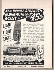 1956 Print Ad Vio Holda Rigid Tex Aluminum Boats Topeka,KS