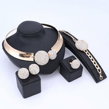 Fashion African Beads Jewelry Set Dubai Crystal Gold Plated Nigerian Wedding Set