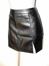 Sexy schwarzer Mini Leder Imitat Rock Größe L Kunstleder Minirock NEU