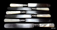 Set of 6 American Cutlery Company Mother of Pearl Sterling Silver Dinner Knives