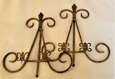 Two Folding Brass Easel for Plate, Picture Frame, Display - Fleur de Lis Detail