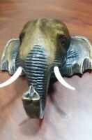 Head Elephant Wood Carved Wall Wooden Hanging Decor Thai Home Hand Collectible