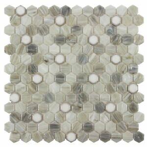 Modern 1X1 Hexagon Beige Gray White Glossy Hot Glass Mosaic Tile MTO0504