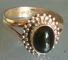Sterling Silver Traditional Asian Vintage Style Black Onyx Ring Size O Gift