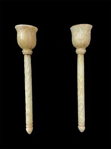 VINTAGE/MUGHAL STYLE PAIR OF NEPHRITE JADE FLY WHISK(CHAWAR)