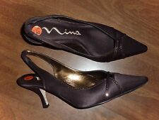 NEW - NINA - BROWN SATIN SLINGBACK PUMPS w/RHINESTONES - LADIES 8.5M