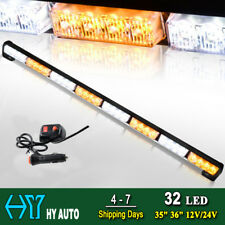 "35"" 36"" 32 LED Amber Y White Emergency Warning Traffic Advisor Strobe Light Bar"