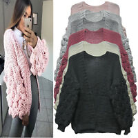 New Women Bobble Knit Sleeve Cardigan Ladies High Street Winter Jumper Sweaters