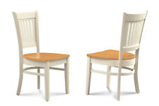 SET OF 6 DINETTE KITCHEN DINING SIDE CHAIR W. WOOD SEAT IN TWO TONE FINISH