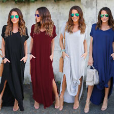 Women Boho Floral Long V Neck Pockets Maxi Dress Party Summer Beach Sundress