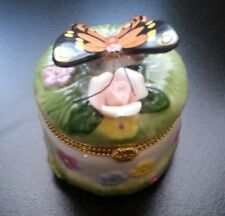Porcelain Butterfly and Flower Trinket Box Slightly USED in org. Box