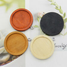 12pcs/pack Mixed Wood 25mm Round Bezel Setting Charms Pendant DIY Findings 54313
