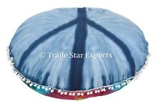 """Large Mandala Tie Dye Peace Sign Cushion Cover 32"""" Round Floor Throw Pillow Case"""