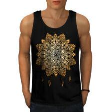 Wellcoda Mandala Yoga Mens Camiseta sin mangas, camisa de deportes activo espiritual
