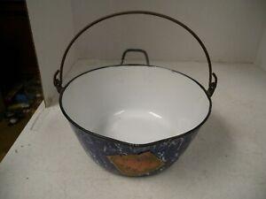 Antique Graniteware Blue/White Swirl Handled Pot, w/Orig Label