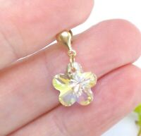 9 CT Yellow Gold Crystal Flower Drop Earrings - Gift Boxed - Aurora Borealis