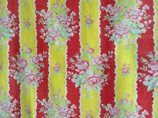 Vintage French Floral Stripe Printed Cotton Fabric Pink Rose