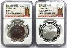 2016 Britannia Silver Reverse Proof 2-coin set 1oz NGC PF70 ER Early Release !