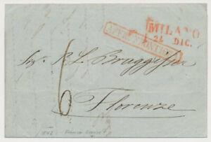 ÖSTERREICH 1842 AUSLANDS-Brief (Inhalt) ROTSTEMPEL MILANO nach FLORENZE. '6'