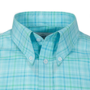 Adaptor Clothing Short Sleeve 4 Finger Collar Shirt Ice Blue / Green Check