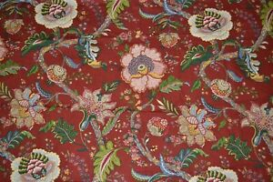 """Cotton home decor fabric, large floral print on dark red, 55"""" x 2.2 yards"""