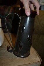 ~ Medieval Metal Sheathed Smoked Glass Beveled Hand Blown Pouring Stein Pitcher~