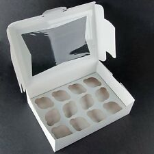 "10 Pack Window Cupcake Box with Insert 14"" x 10"" x 4"" Heavy Duty Holds 12 Each"