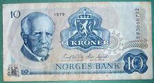 NORWAY 10 KRONER  NOTE FROM 1979, P 36 c, NANSEN