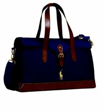 Brand New Genuine RALPH LAUREN POLO Satchel Travel Holdall Sac Étui Bleu Marine & Marron