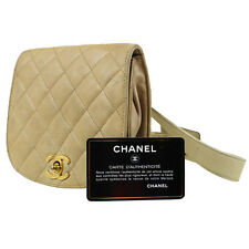 CHANEL Matelasse Quilted Belt Bum Bag Beige Leather Vintage Authentic #9972 M