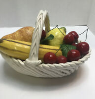 Vintage  Ceramic Art Pottery Fruit Bowl Basket Centerpiece Made in Italy