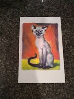 "Vtg Siamese Cat Gig Girard Goodenow  Stationery Card Print."" Cock eye'd"" 1 of 4"